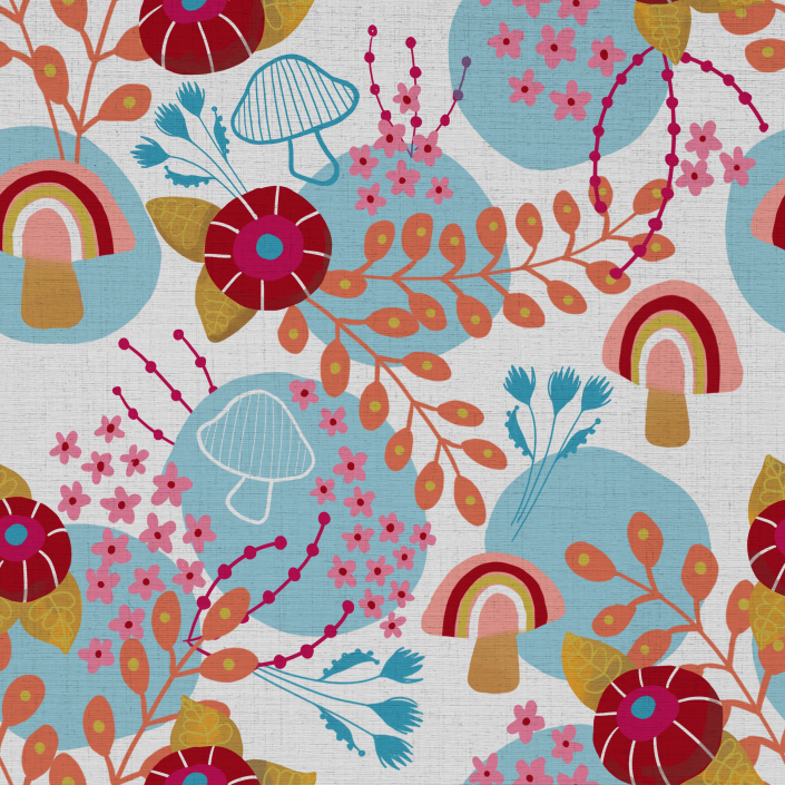 Bright Floral and Shrooms in White